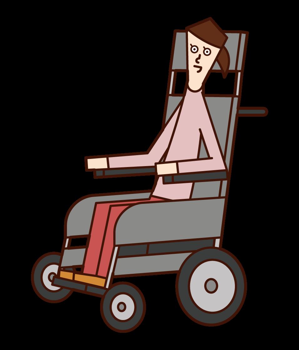 電動輪椅上的人(女性)插圖
