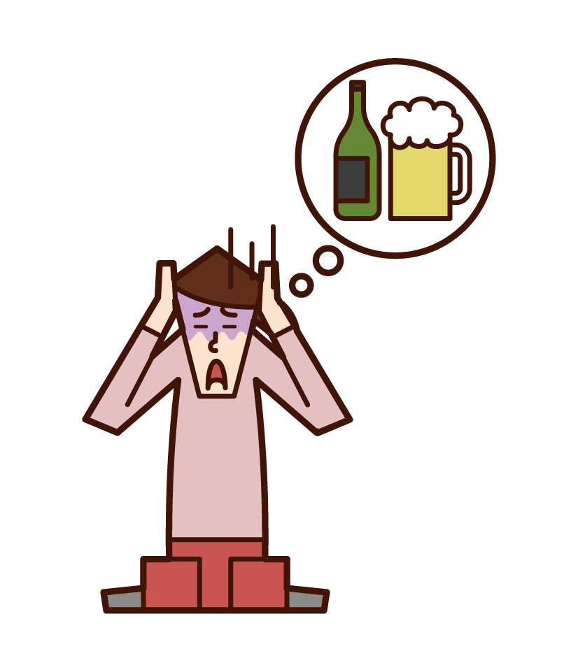 アルコール中毒の人(女性)のイラスト