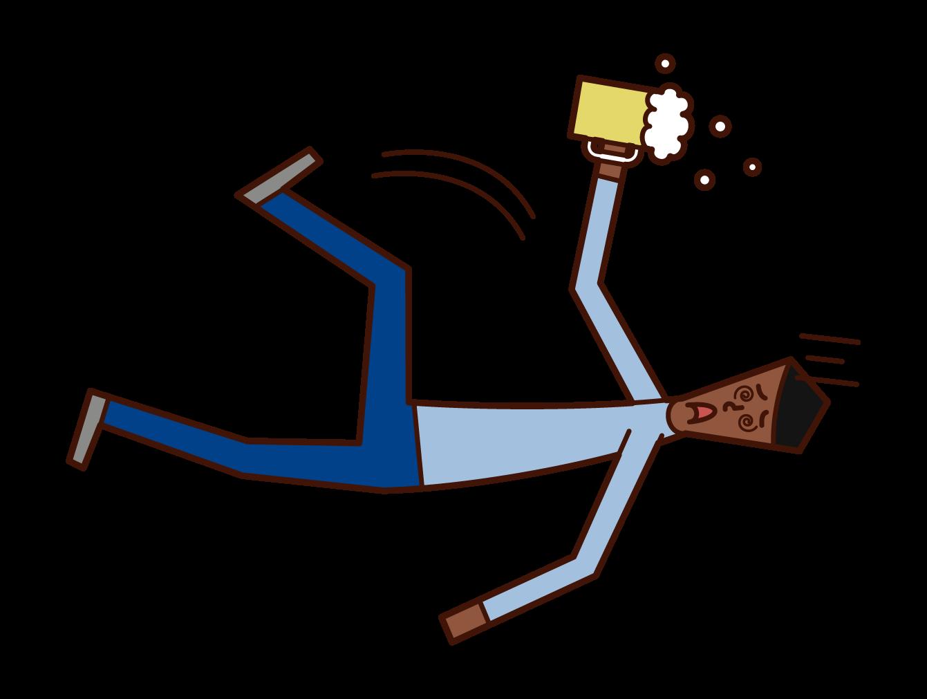 急性アルコール中毒で倒れる人(男性)のイラスト