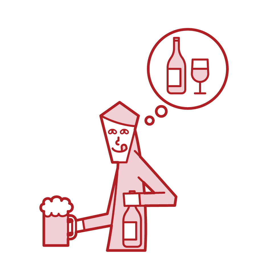 Illustration of an alcoholic (male)