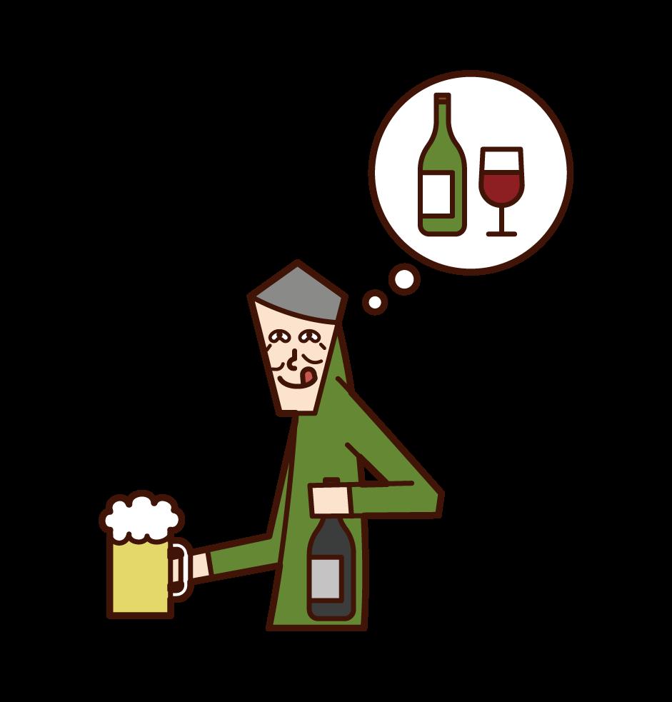 アルコール中毒の老人(男性)のイラスト