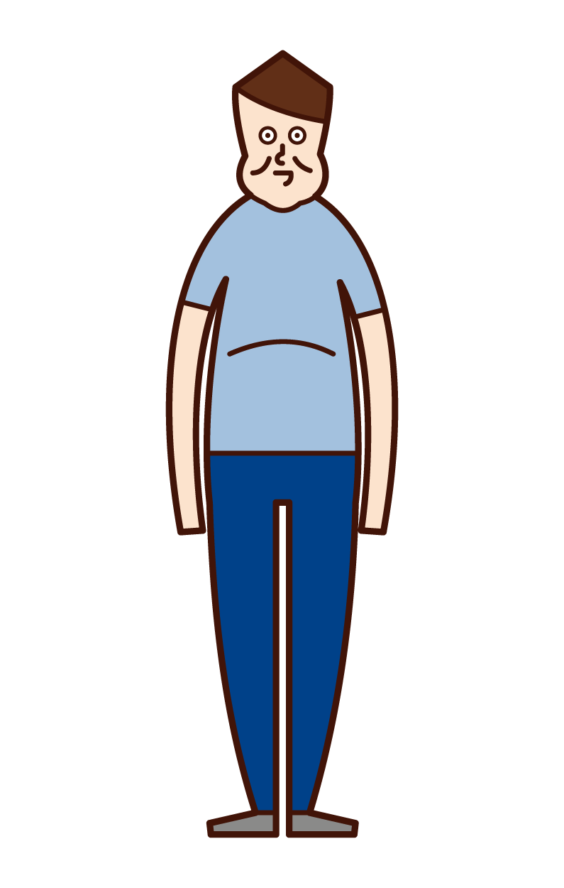 Illustration of fat old man, obese, metabolic syndrome (male)