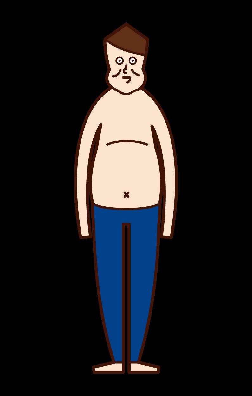 太った人・肥満(男性)のイラスト