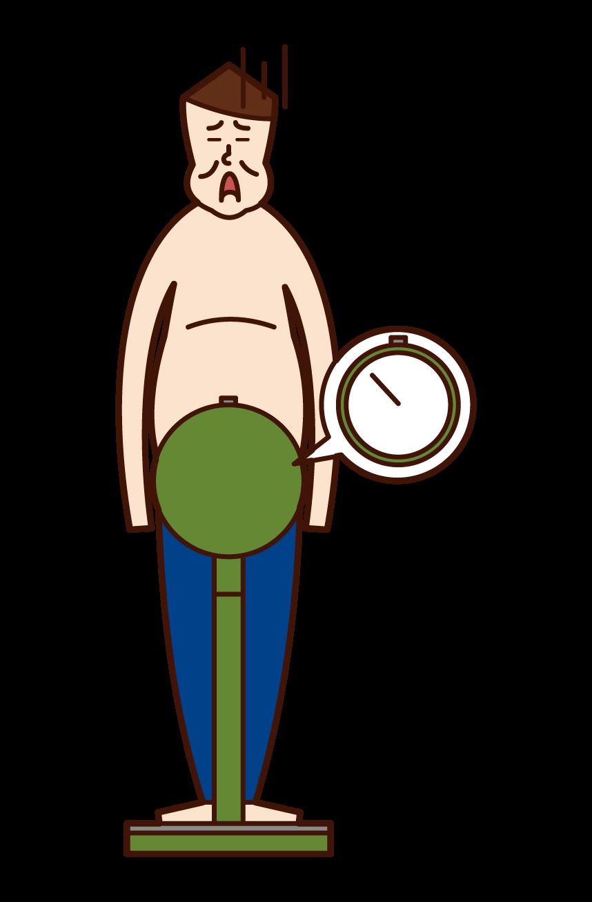 体重を計る太った人・肥満(男性)のイラスト