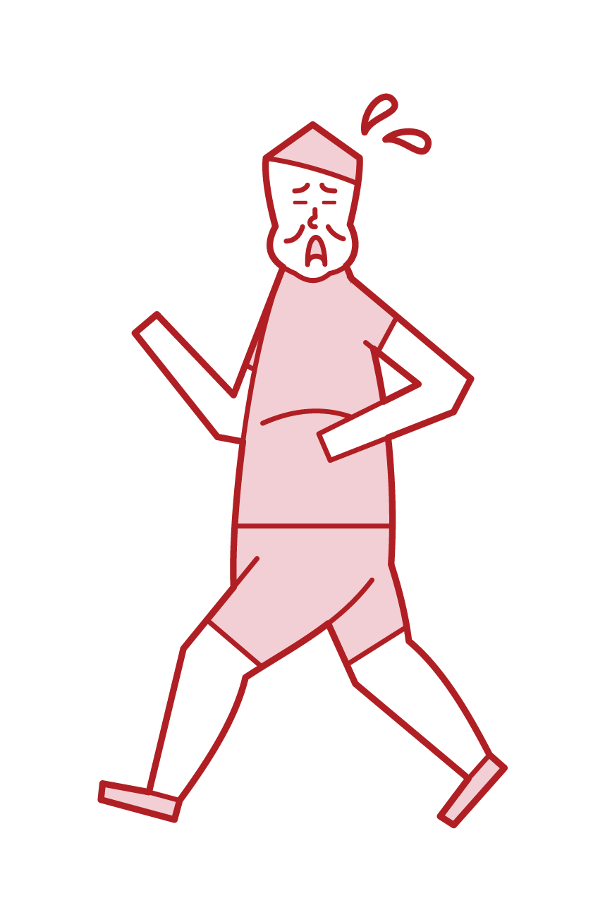 Illustration of a person (male) working on a diet