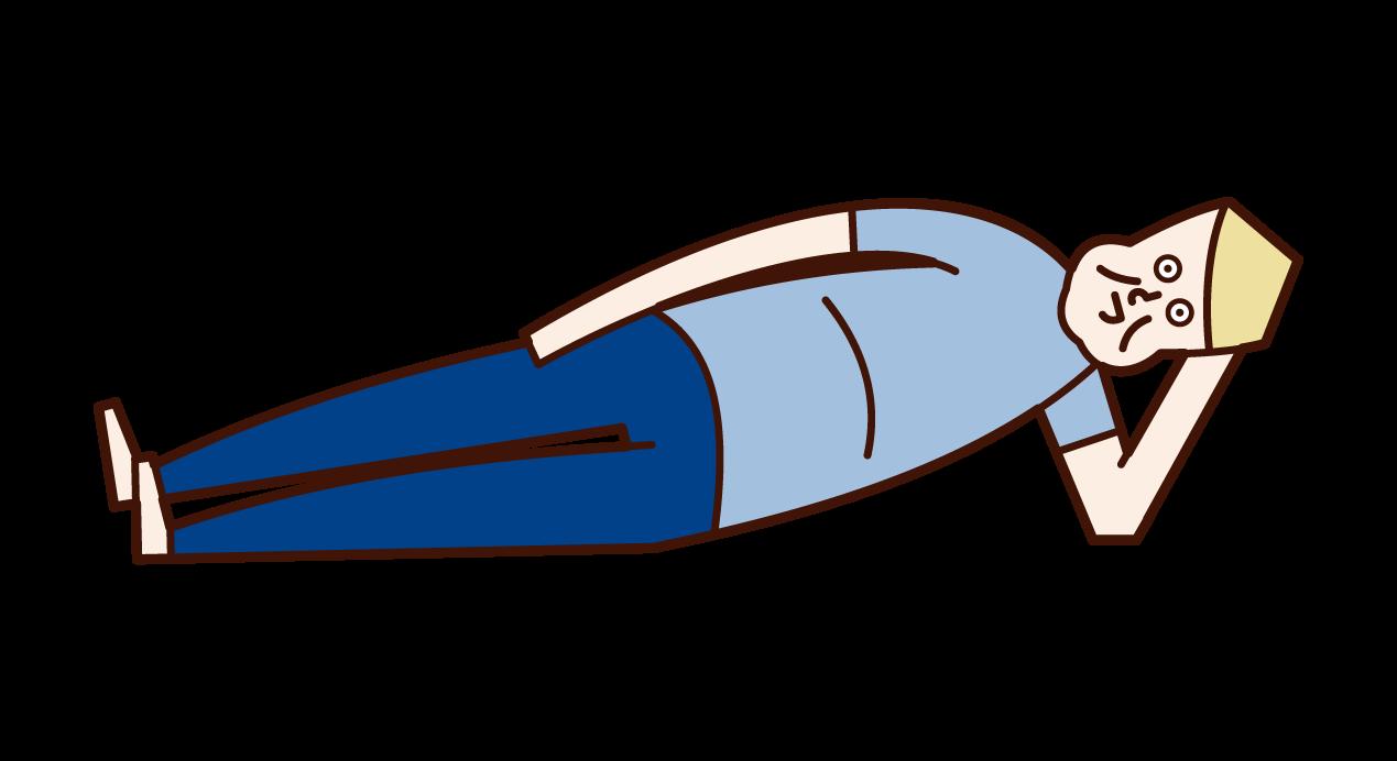 寝転ぶ太った人・肥満(男性)のイラスト