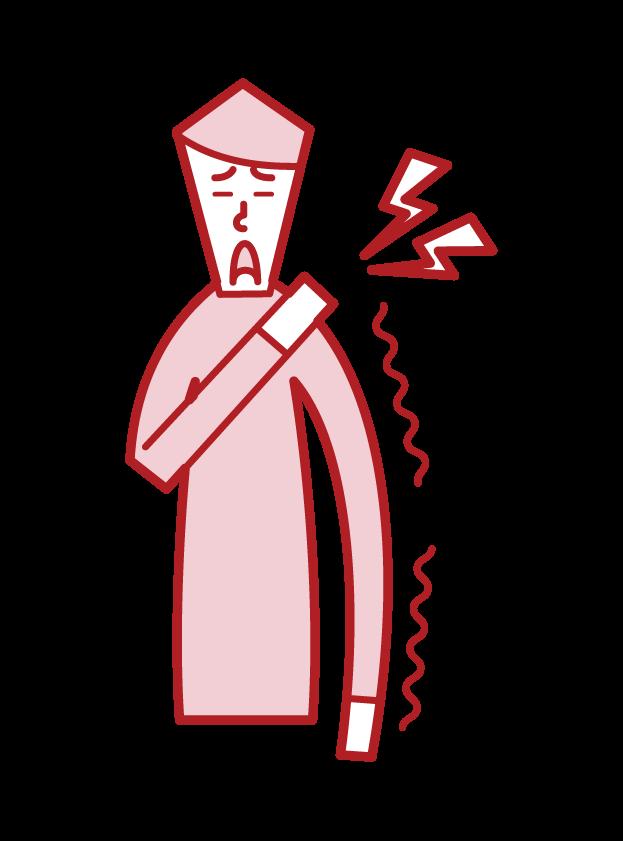 手の痺れ(男性)のイラスト