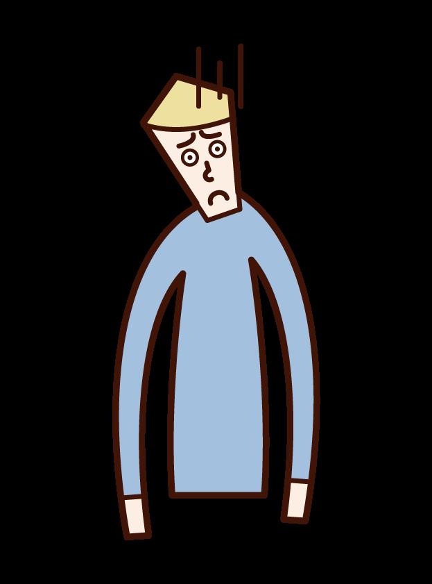 痙性斜頚・頸部ジストニア(男性)のイラスト