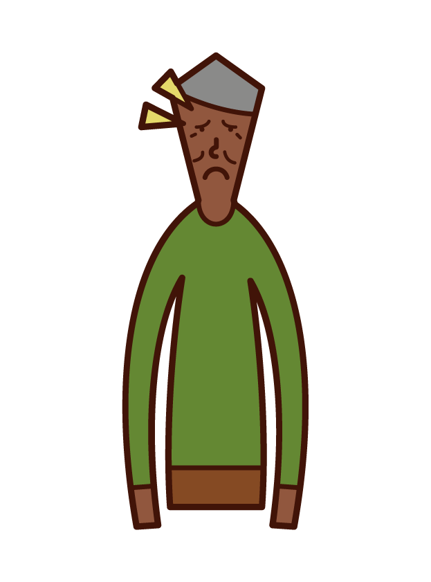 眼形下垂の老人(男性)のイラスト