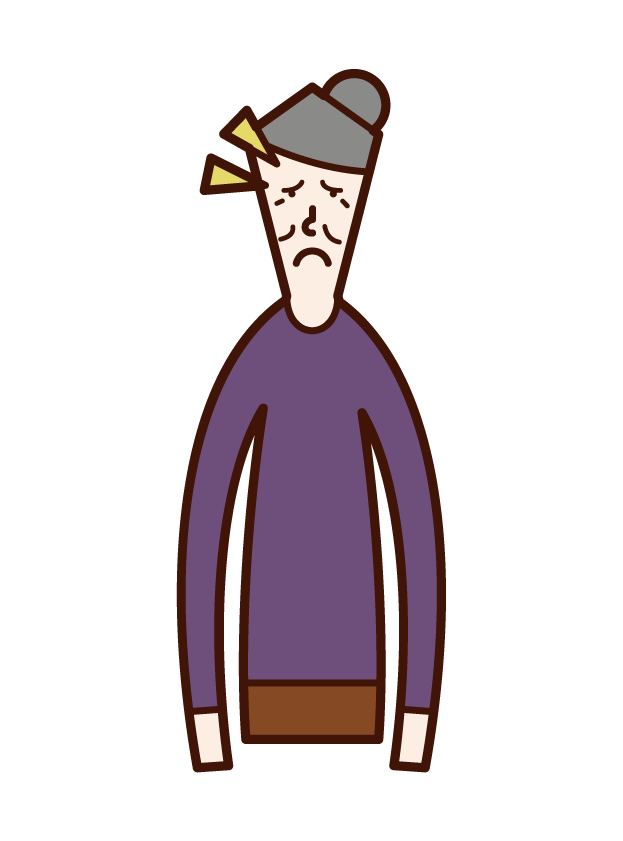 Illustration of an old man (woman) with an eye shaped pituitary gland