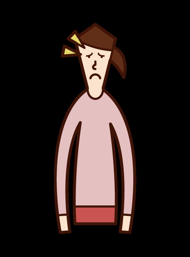 眼形下垂の人(女性)のイラスト