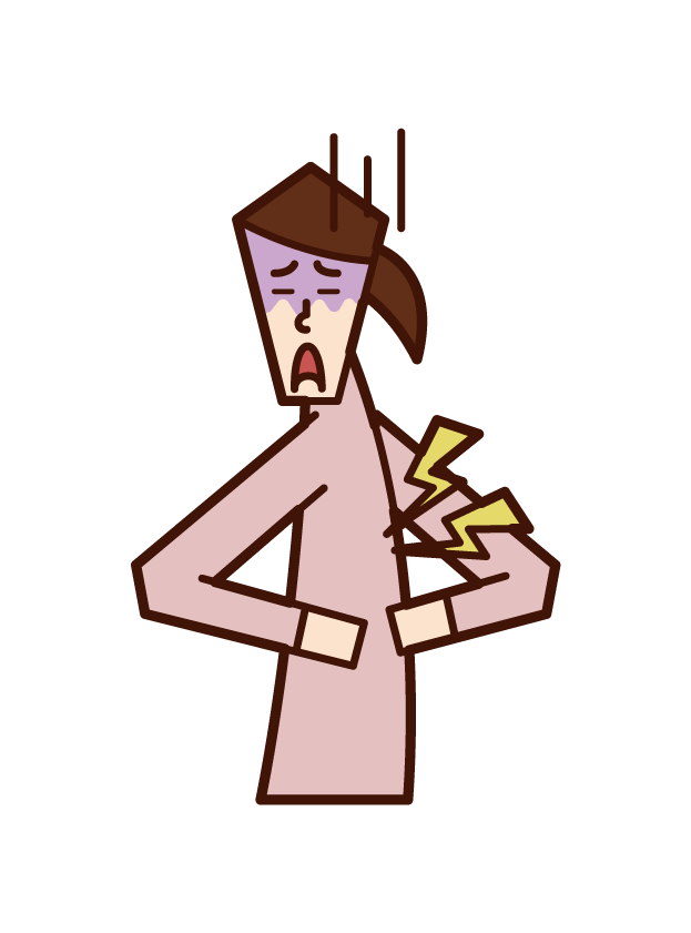 Illustration of back pain (female)
