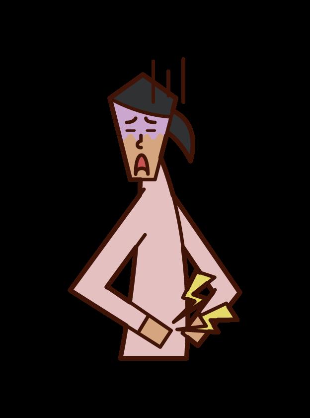 腰痛(女性)のイラスト