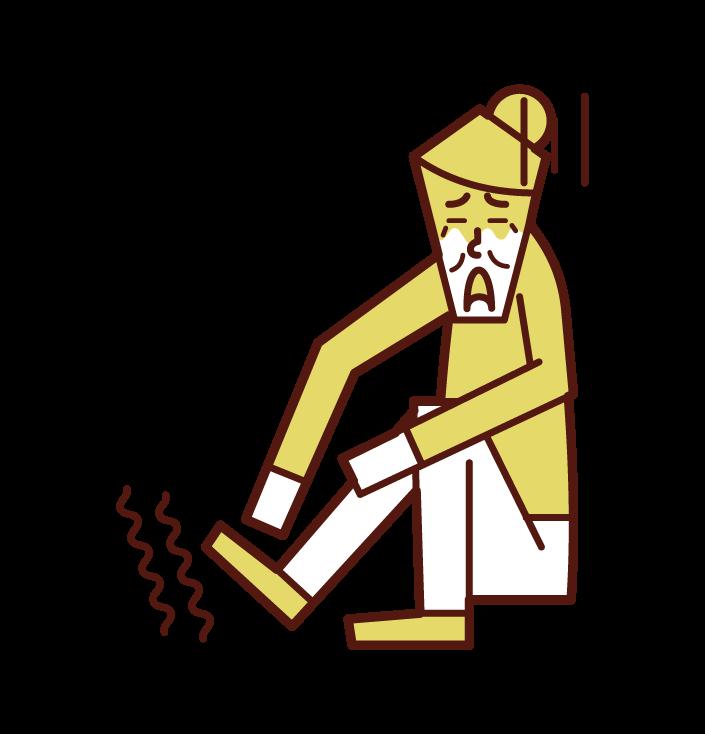 足の痺れ(女性)のイラスト