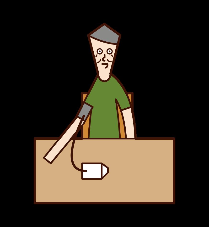血圧測定(男性)のイラスト