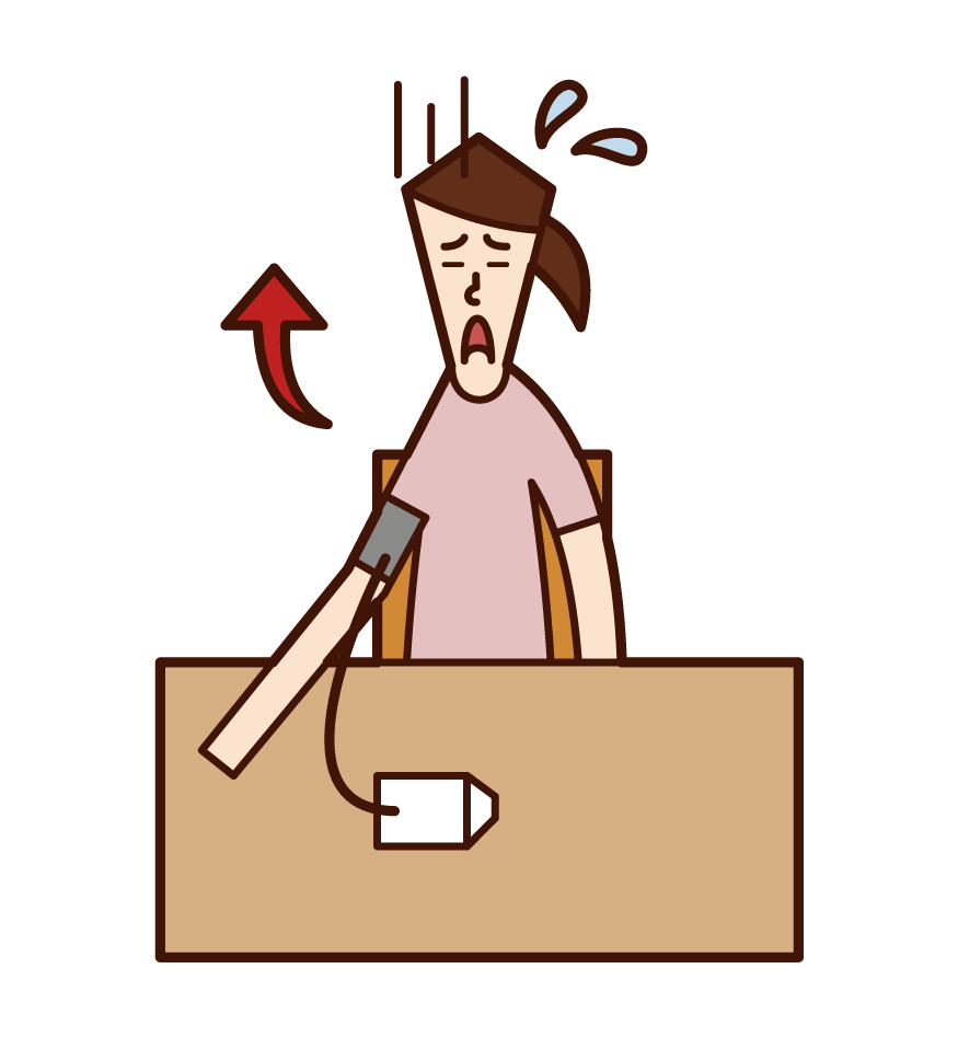 血圧測定(女性)のイラスト