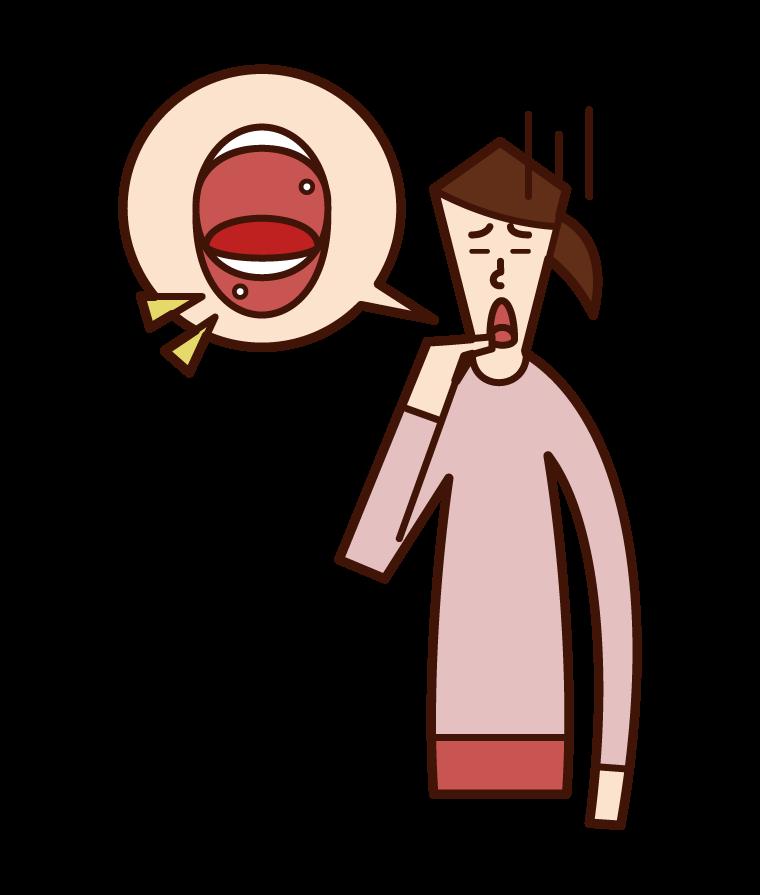 口内炎(女性)のイラスト