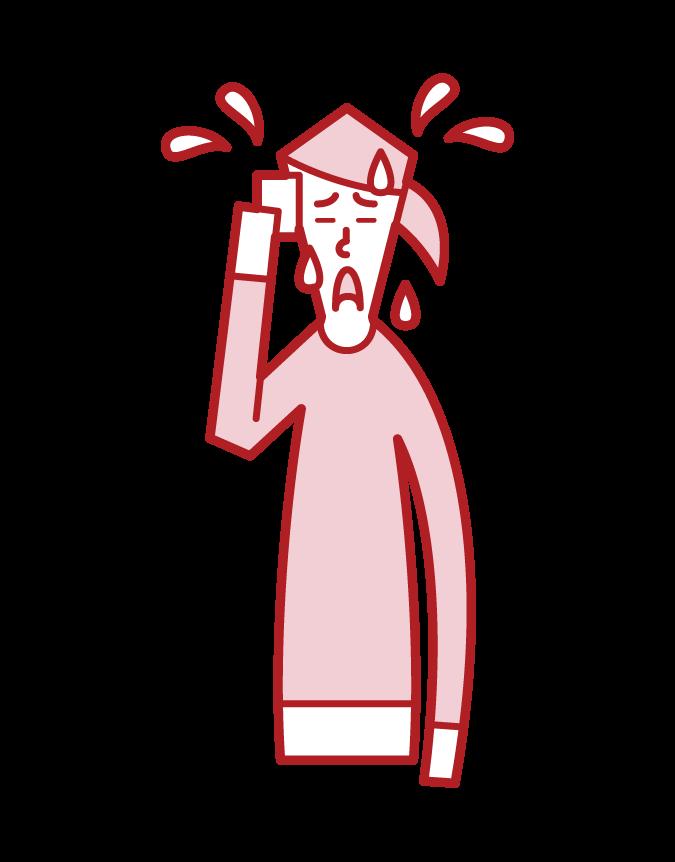 更年期障害・ホットフラッシュ(女性)のイラスト