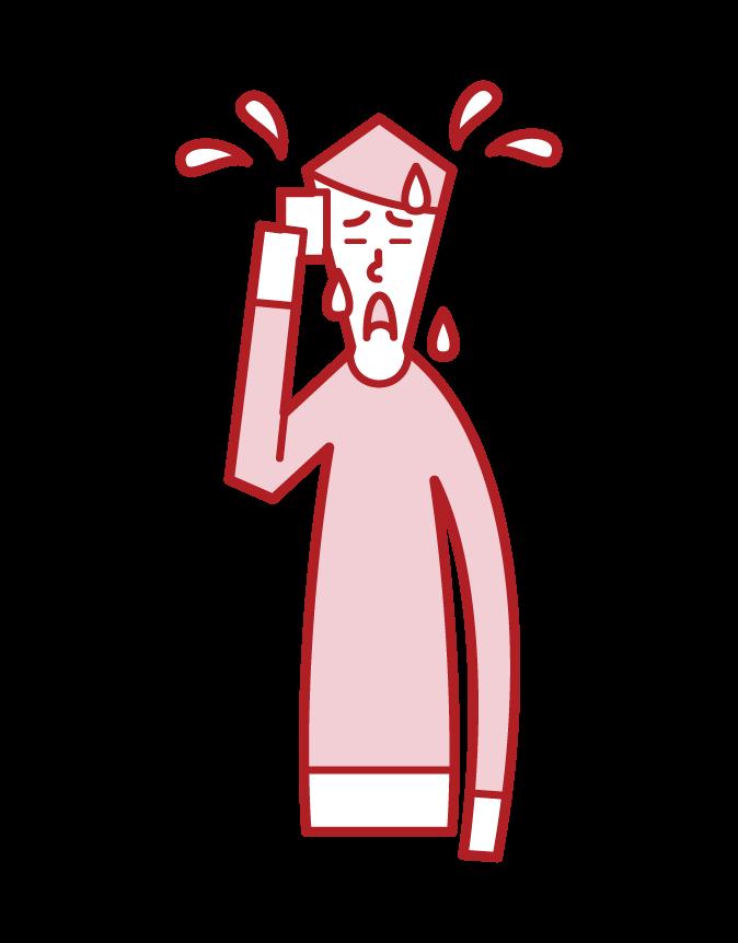 更年期障害・ホットフラッシュ(男性)のイラスト