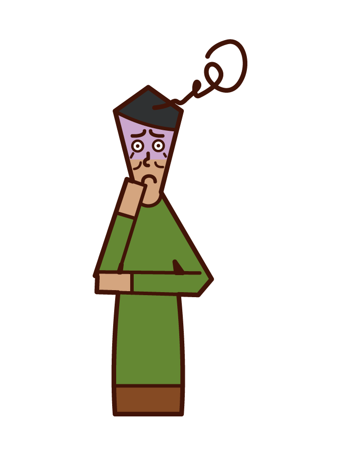 Illustration of anxious old man (male)