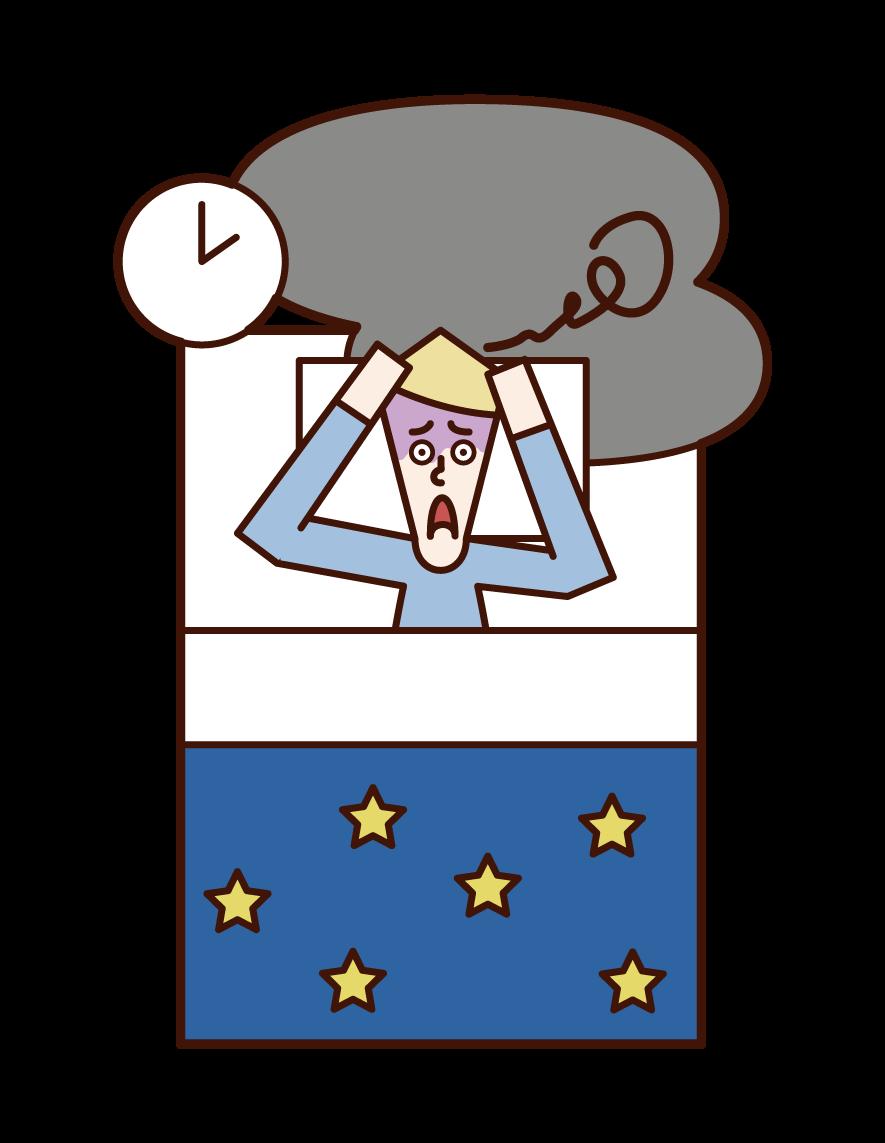 Illustration of insomnia (male)