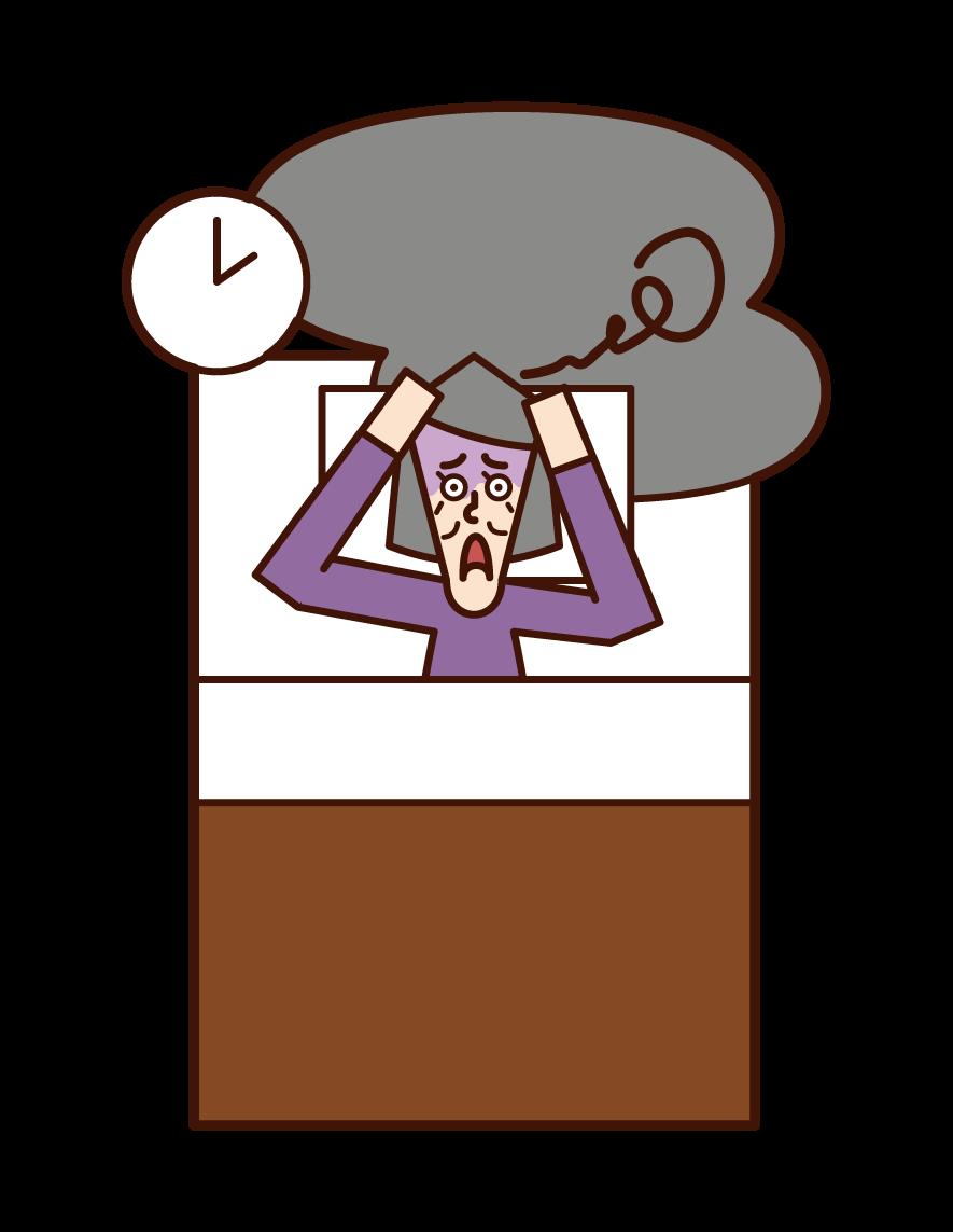 不眠症(女性)のイラスト