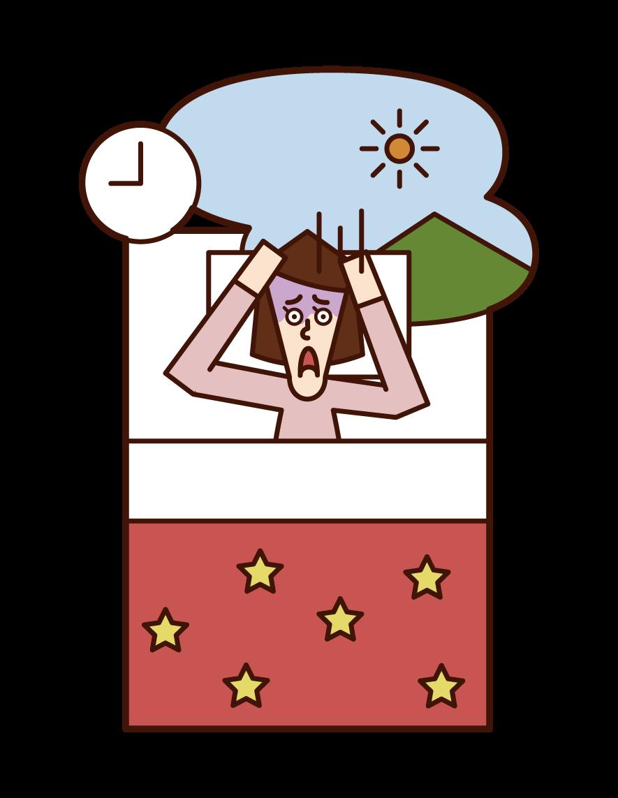 Illustration of oversleeping (woman)