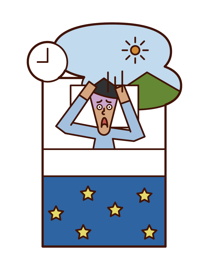 寝坊(男性)のイラスト