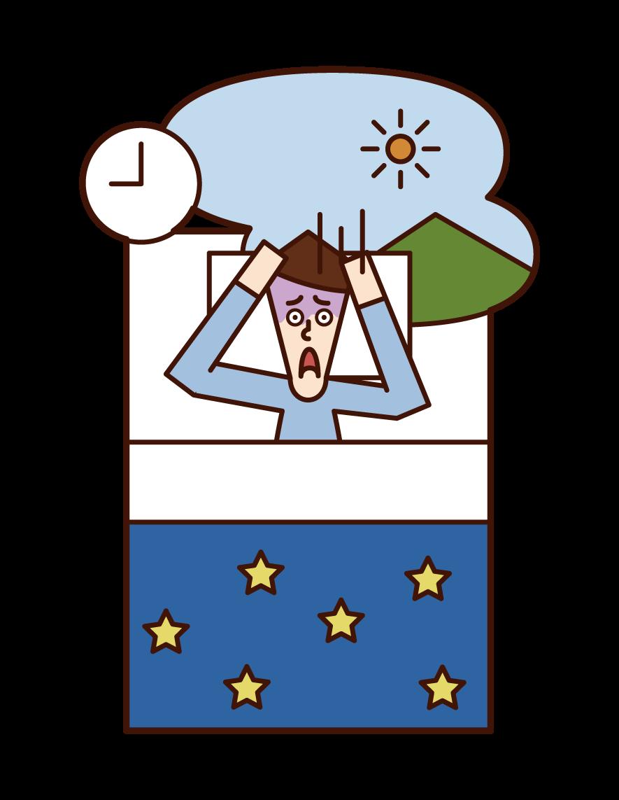 Illustration of oversleeping (man)