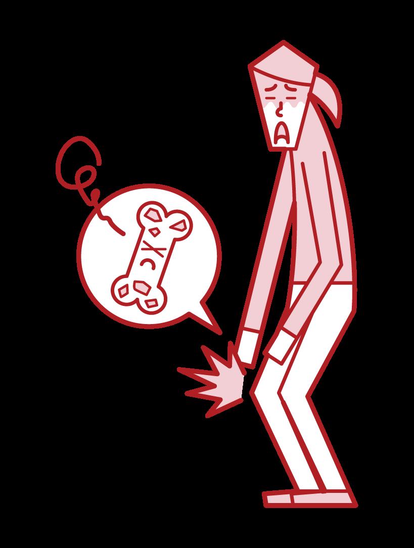 骨粗しょう症(女性)のイラスト