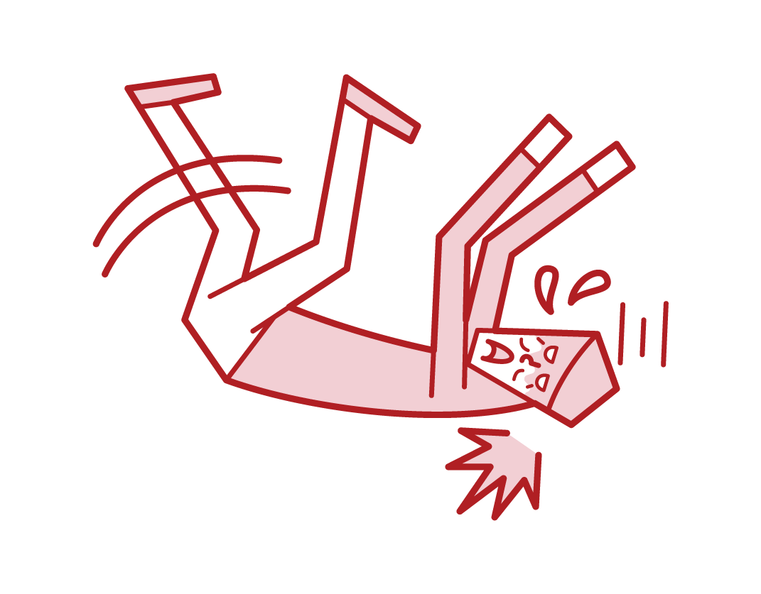 Illustration of a person (male) who falls and hits his head