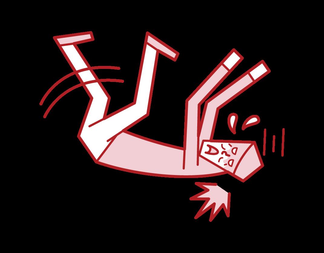 転倒をして頭を打つ人(男性)のイラスト