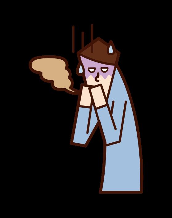 ドライマウス ・口臭(男性)のイラスト