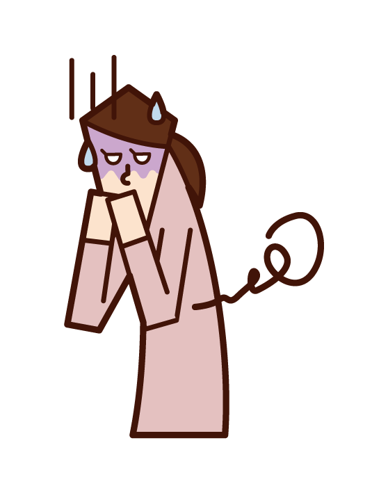 Illustration of a person who seems to vomit and food poisoning (woman)