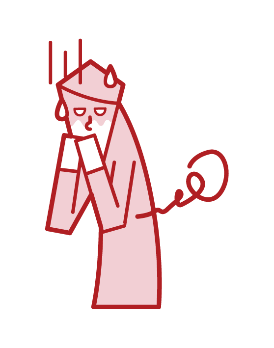 Illustration of a person who seems to vomit and food poisoning (male)