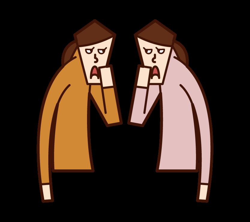 ひそひそ話・井戸端会議(女性)のイラスト