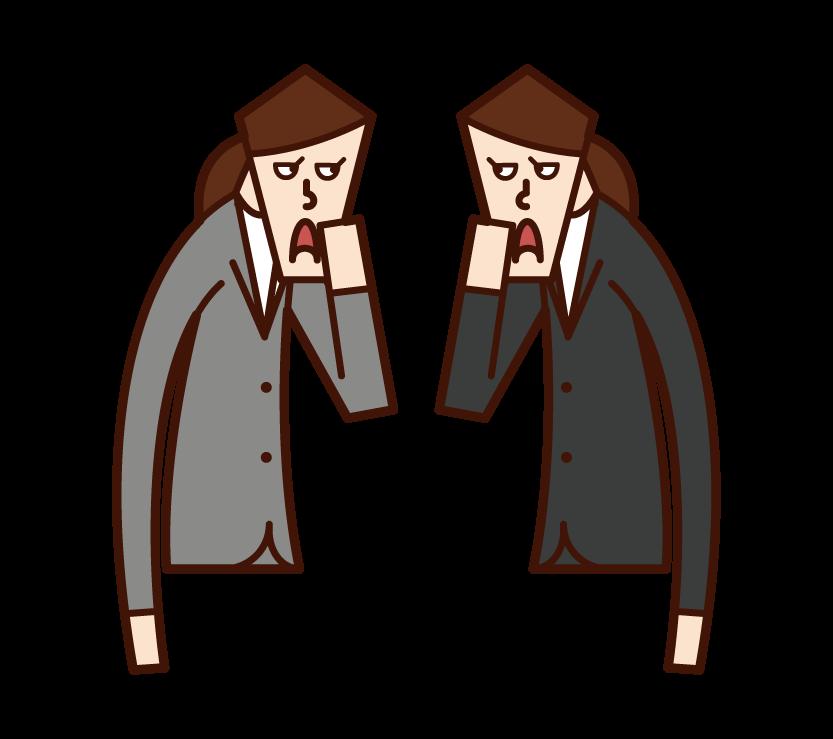 ひそひそ話・井戸端会議をする人たち(女性)のイラスト