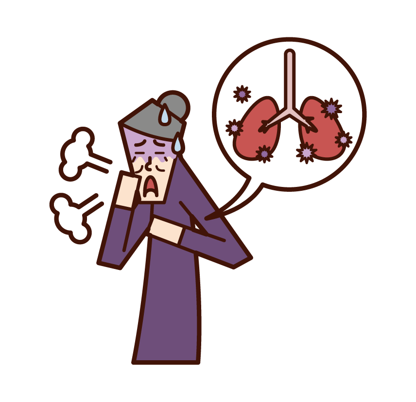 Illustration of pneumonia, pulmonary tuberculosis, lung disease (woman)