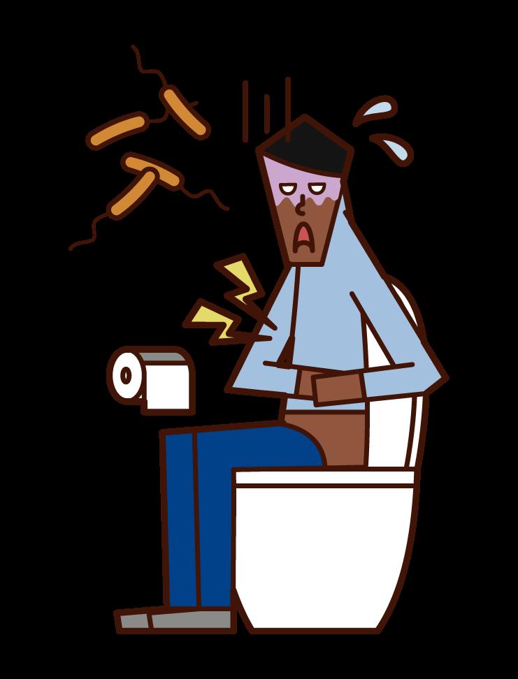 Illustration of Vibrio cholerae (male)