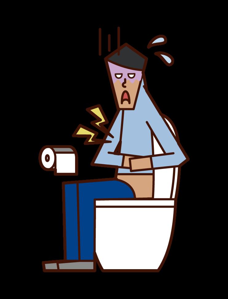 Illustration of severe abdominal pain, gastroenteritis, food poisoning (male)
