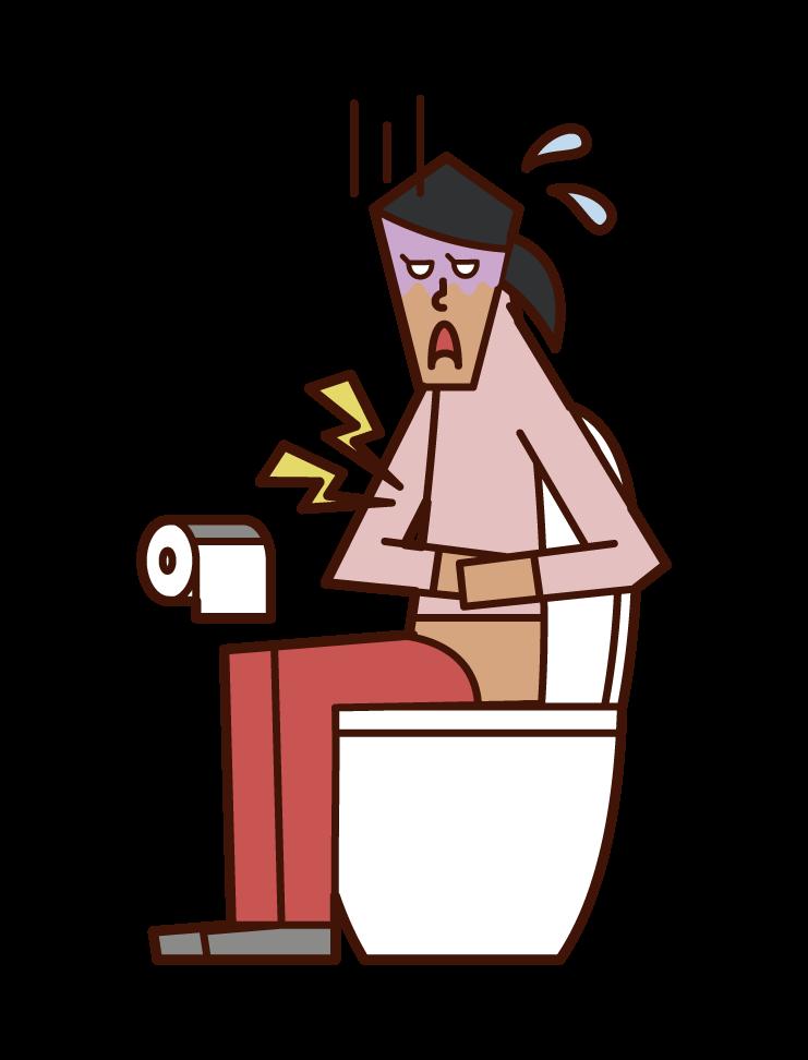 심한 복통, 위장염 및 식중독 (여성)의 그림