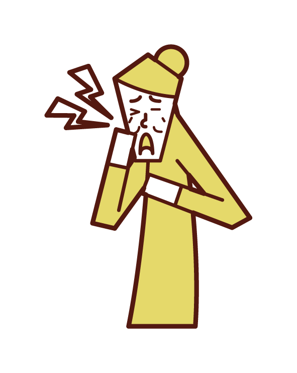 Illustration of trigeminal neuralgia (female)