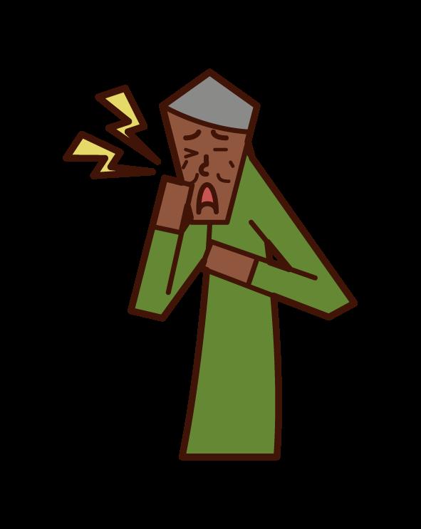 三叉神経痛(男性)のイラスト