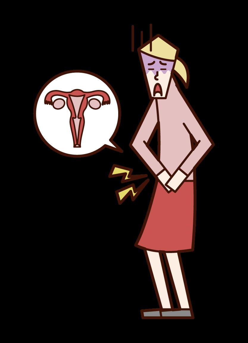 Illustration of menstrual pain (woman)