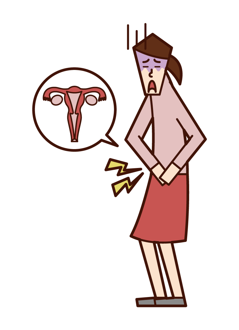 Illustration of menstrual pain (female)