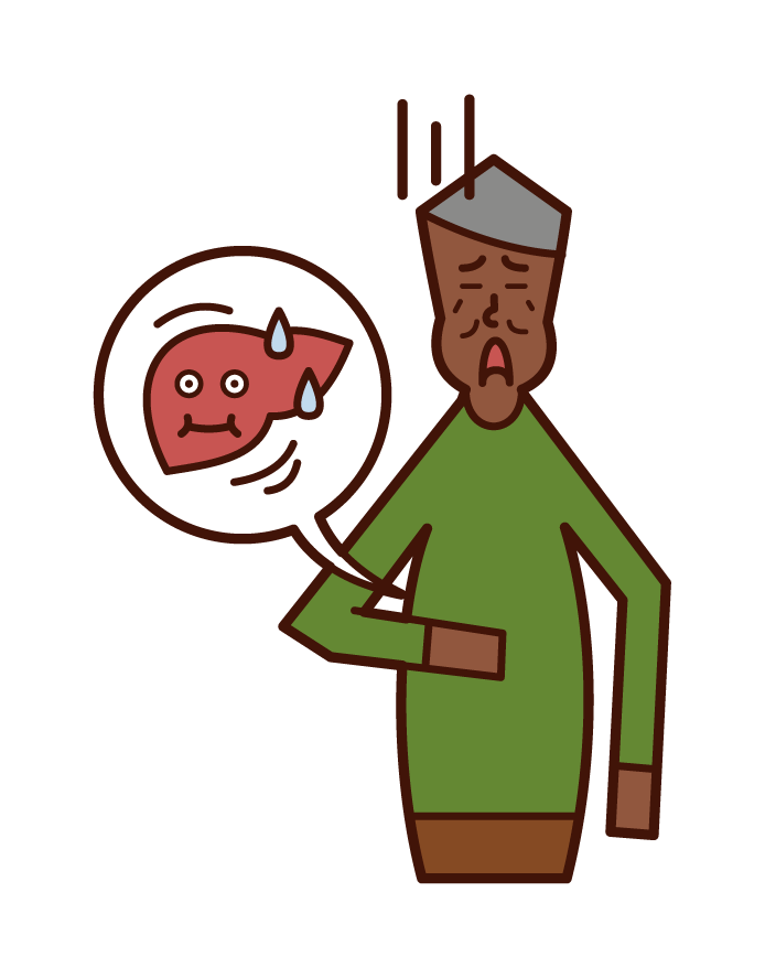 Illustration of fatty liver (man)