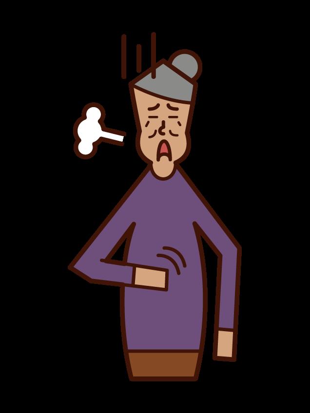 食べ過ぎた人(女性)のイラスト