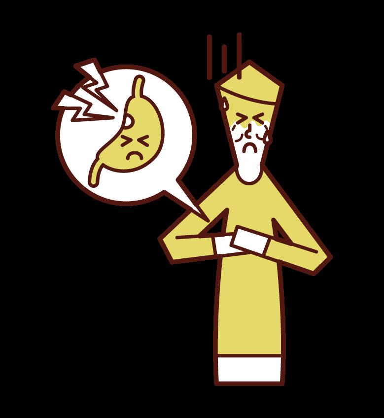 Illustration of stomach ulcer (man)