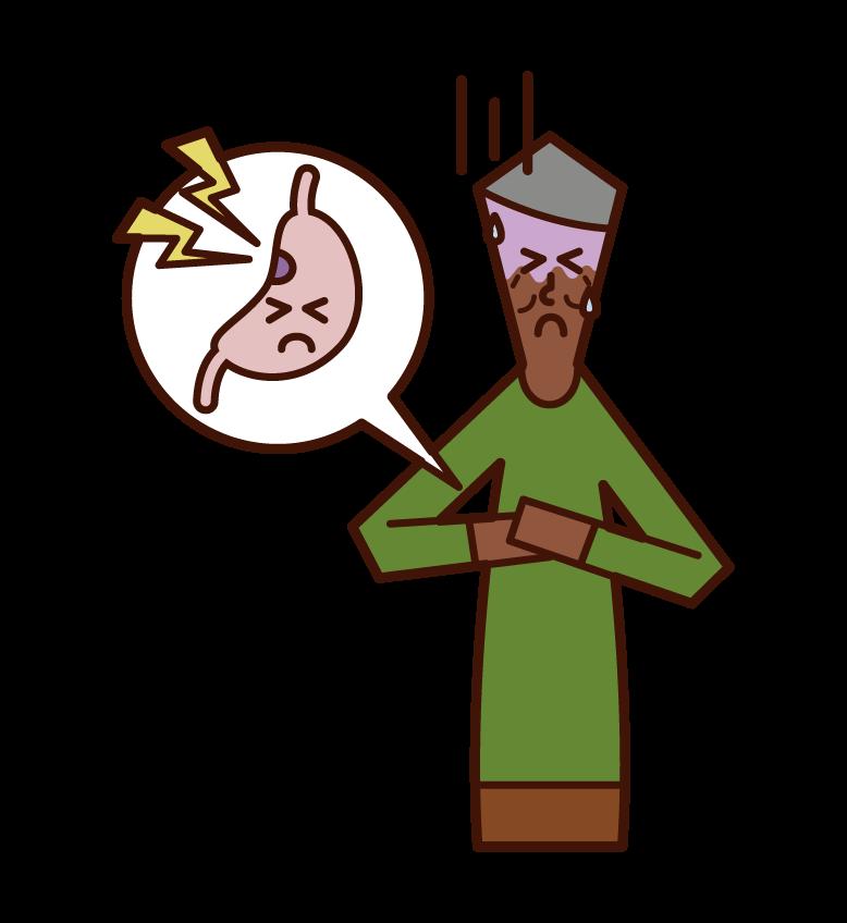 胃潰瘍(男性)のイラスト