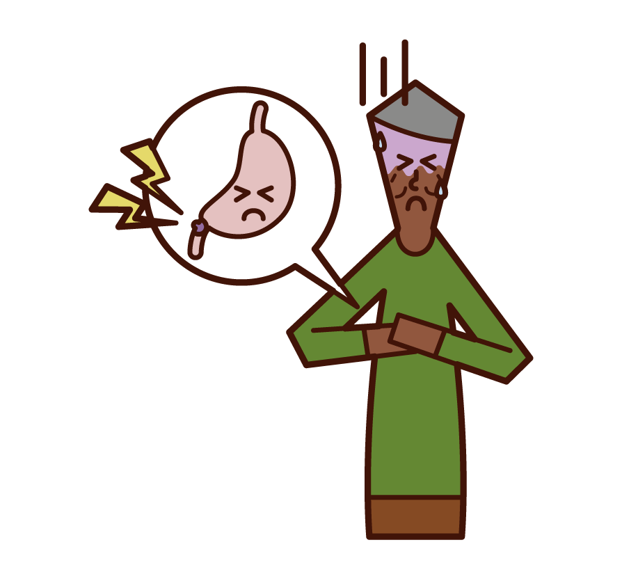 Illustration of duodenal ulcer (man)